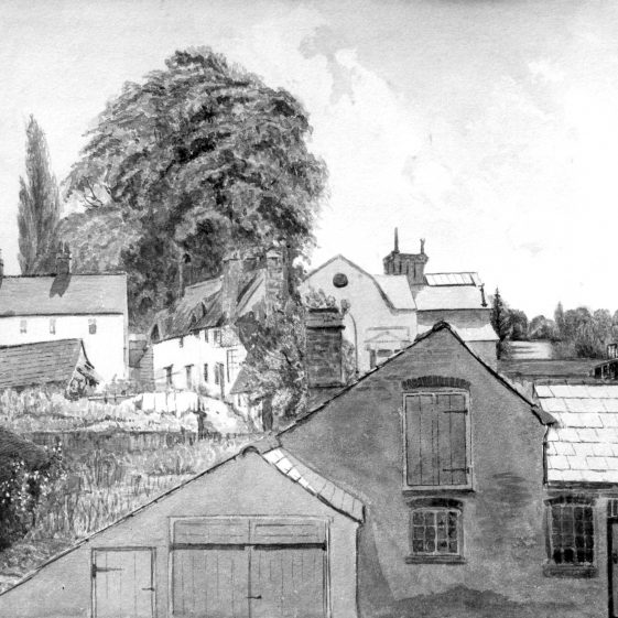 View towards Silver Cup from The Director's House, 1 West Common, watercolour by Jane Gilbert   LHS archives, cat. no. HC 130