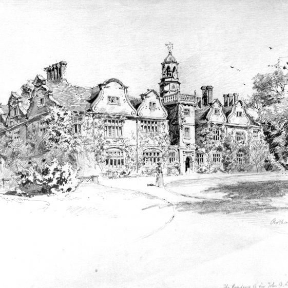 Sketch of Rothamsted Manor from the South Lawn - Residence of Sir John Lawes | Cat no HC 131