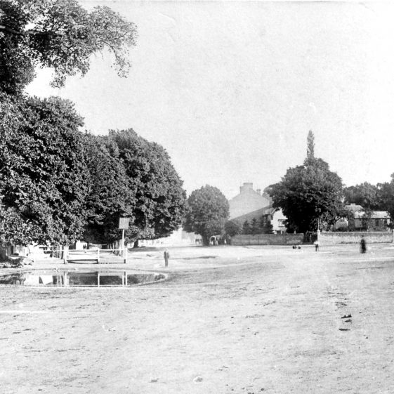 Cock Pond and High Street - 1880 - Mr Lockhart's house on corner of Church Green (behind trees) | Cat no HC 173