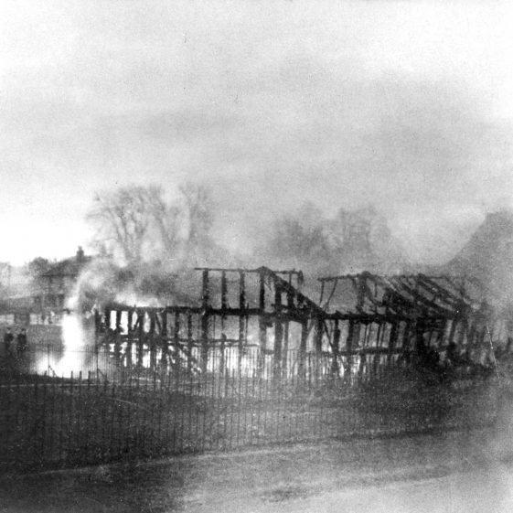 Smouldering frame of St John's Church - destroyed by fire - 1905 | Cat no HC 174
