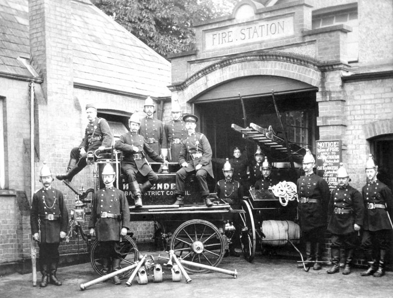 1. Outside Fire Station with manual pump - early 1900s | Cat no HC 182