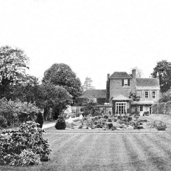 The garden at the back of Welcombe - south side - c.1880.  Now extension & carpark of Harpenden House Hotel, and Lourdes Hall | LHS archive, cat. HC 187