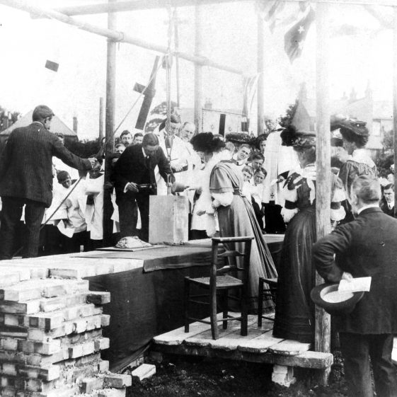 Laying the foundation stone of St John's Church - 1908 | Cat no HC 189