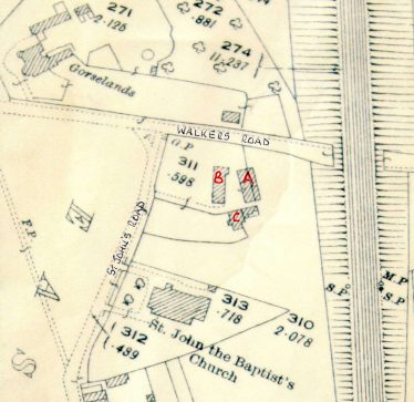 A is Oggelsby's forge, B is the Dutch Barn and C our cottage. | John Olley, from 1924 map of Harpenden, LHS collection