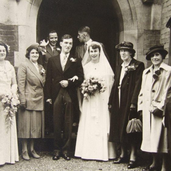 Wedding of Phyllis Halsey to Ken Cooper, 1950s. Ralph & Florence Halsey on the right | Ian Taylor family archives