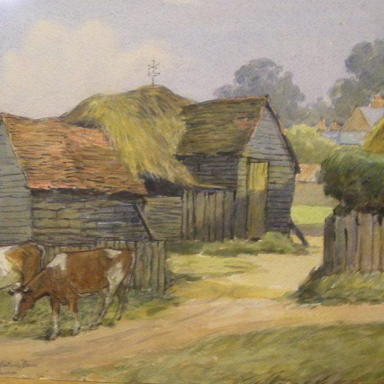 Ernest Hasseldine: Barns at Watler's Farm, Harpenden | LHS archives - photo of original watercolour