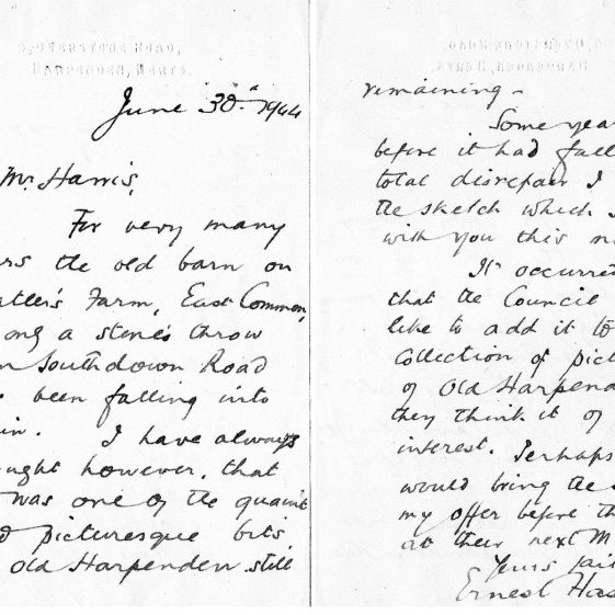 Letter concerning the painting of Watler's Barn, Harpenden | LHS archives - photo of original