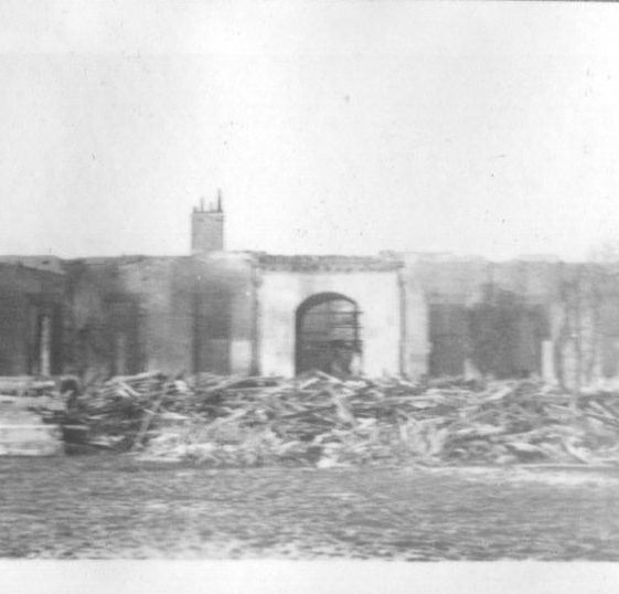 Lamer House, destroyed by fire, 1951   LHs archives, Herring album BF 52.2 D