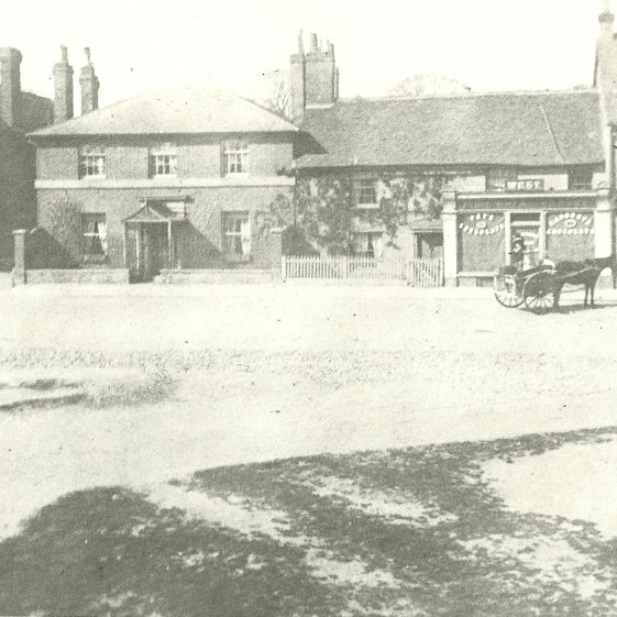 The George, Dr Kingston's House, Mr West's cottage & Bakery and Busby's Chemists, c.1910 | LHS archives, cat.no. LHS 00005