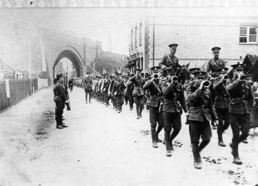 Marching near the skew bridge