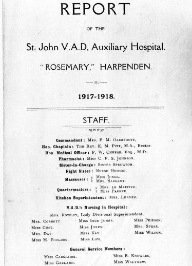Report on Rosemary Hospital 1917/18
