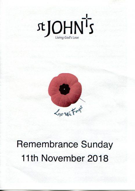 St John's Parish Remembrance Sunday, 2018