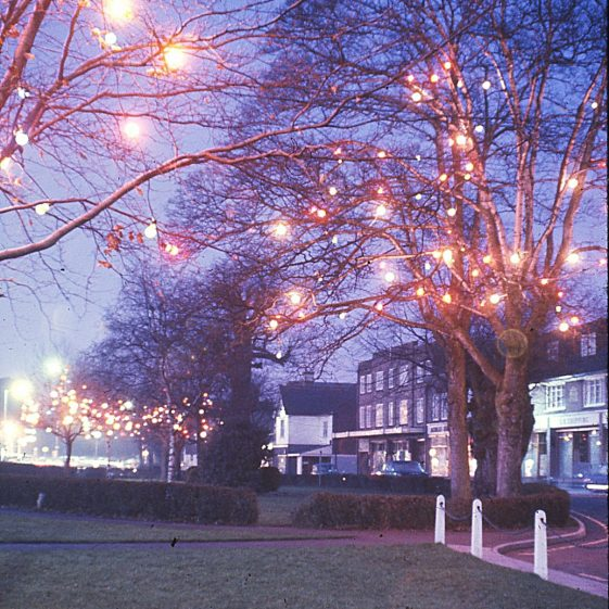 Christmas lights in front of Bowers Parade, December 1966   LHS archives - JJ 072