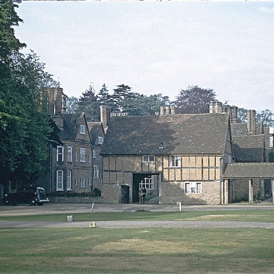 Rothamsted Manor, from east with coach entrance to yard - ? 1950s   LHS archives - JJ 093