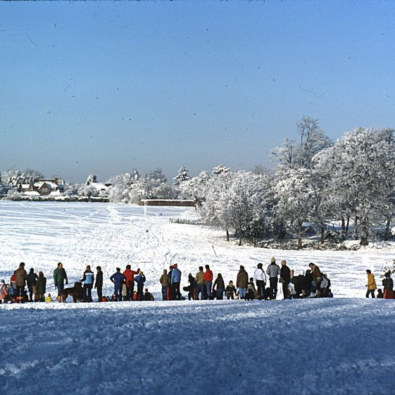 Winter sports in Rothamsted Park, December 1981   LHS archives - JJ 112