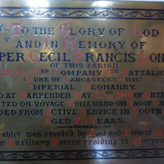Memorial to Cecil Francis Longland - St Nicholas church | G Ross, 2013