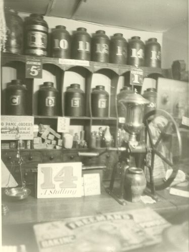 Interior of Mr Buck's shop: these contents are now in Luton Museum   LHS collection, cat. no 1,189