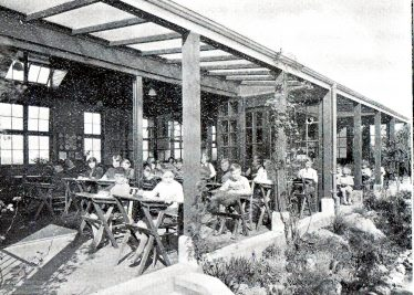 Open air classrooms at the NCH Children's Sanatorium   NCH Brochure, scanned by John Olley