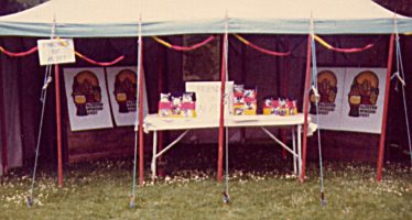Stall promoting the Friends of Alzey at an NCH fete, c.1985 | Rosemary Ross