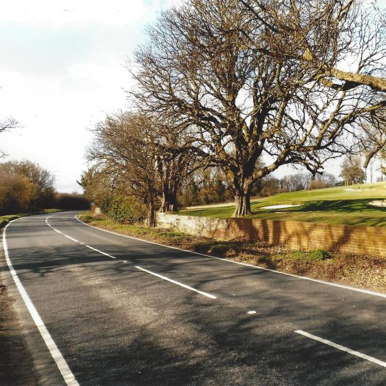 29. Newlands Road, looking north towards Farley Green, with Stockwood Park Golf course to the east and the watercourse on the left | LHS archives - L Casey, Jan 2015
