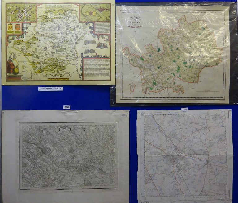 Reproductions of maps of Hertforshire by Speede (1611-12), map of Hertforshire showing the Parks;  topographical map (1882) and 1955 OS map