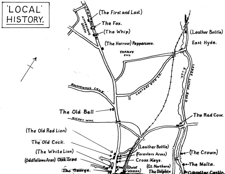 Plan showing past and present pubs north of Station Road.  The 'lost' pubs are indicated with brackets. | Les Casey