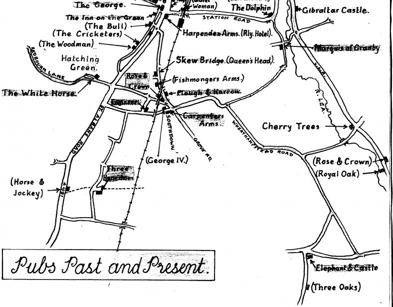 Plan showing past and present pubs south of Station Road.  The 'lost' pubs are indicated with brackets. | Les Casey