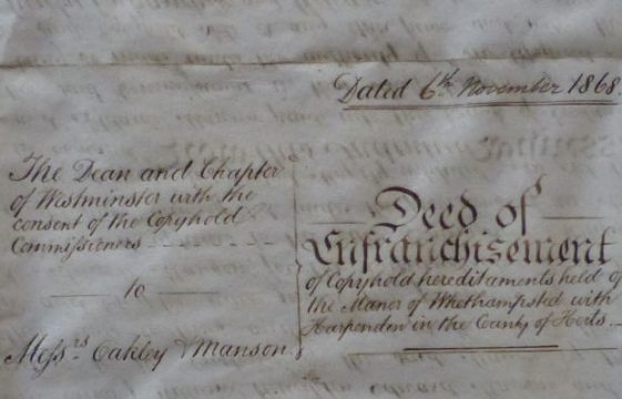 An 1868 Deed of Enfranchisement of copyhold land
