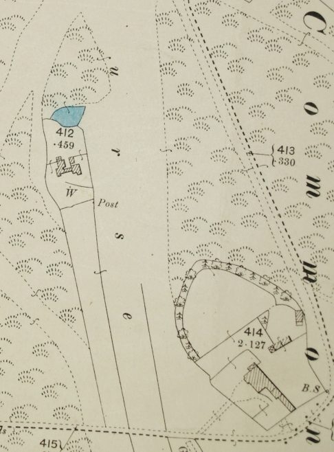 Extract from 1898 OS map showing the pond by Lines forge on the Common, near to Limbrick Hall   LHS archiues