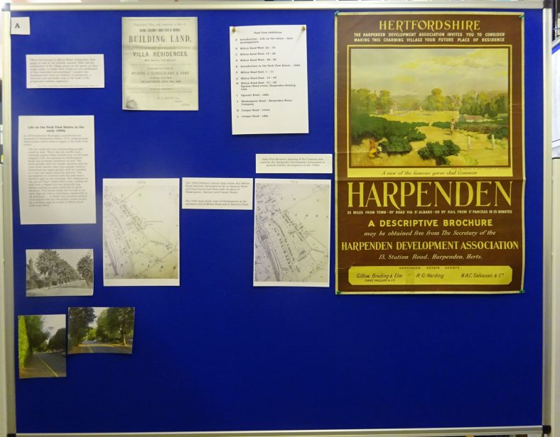 Panel A - John Frye Bourne's poster of Harpenden Common; Life on Parkview estate in the early days; extracts from 1898 and 1898 & 1924 OS maps showing the development of the Parkview estate