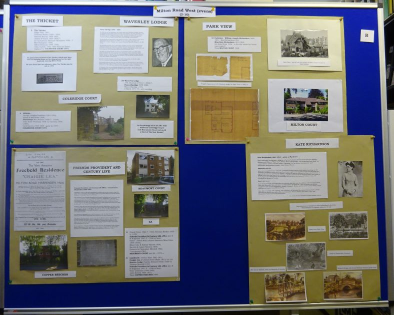 Panel B - Milton Road West - 2-10, including Percy Claridge and the artist Katherine Richardson.