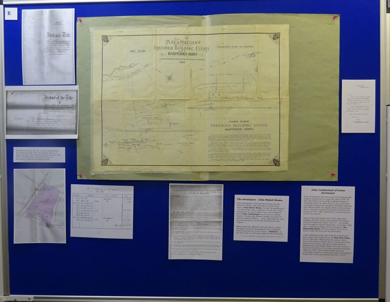 Panel E - introduction, including 1883 auction plan for the estate and information about the developers John Cumberland and John R Brown of Luton