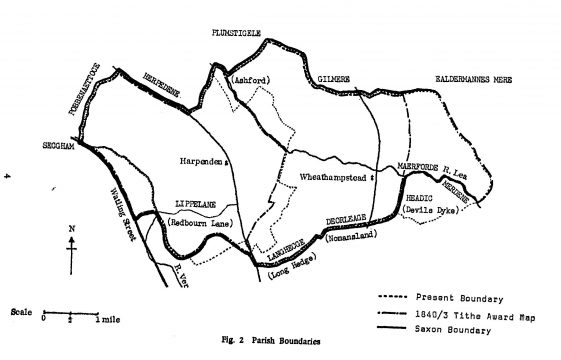 The Saxon boundaries of the parishes of Wheathampstead and Harpenden