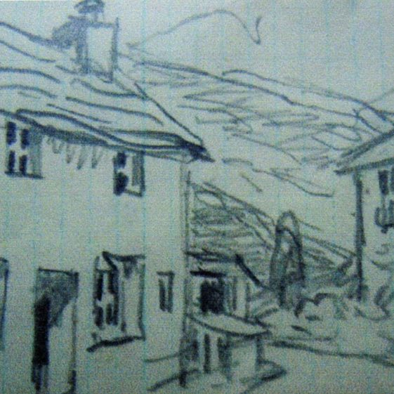 Pencil sketch of Lake District (possibly Rosswaite) from Hasseldine's notebook