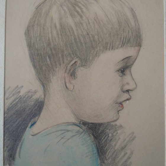 Pencil sketch of Desmond in 1936 aged 3 years