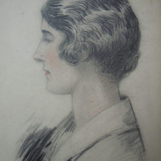 Pencil sketch of daughter Marjorie in 1927