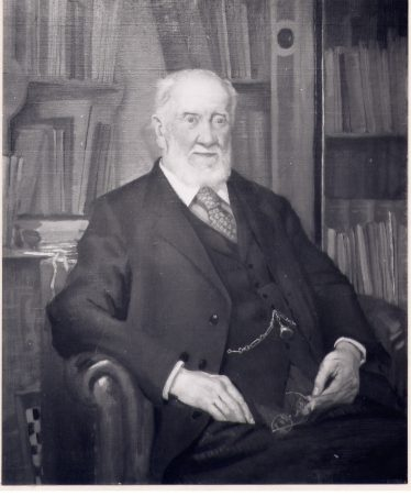 Halley Stewart, painting by John Frye Bourne, 1930, photographed before  Sir Halley's daughter  asked for the library background to be painted over. | LHS collection, cat. no. 1848