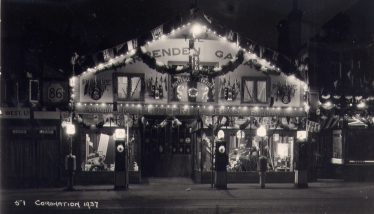 Putterills garage, decorated for the Silver Jubilee in 1935 | LHS archives, from Andy Wheele (2012)**