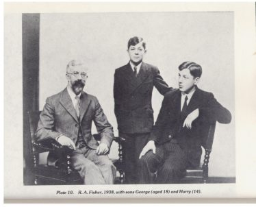 R A Fisher, with his sons George (18) and Harry (14), 1938   from R A Fisher: The Life of a Scientist, by Joan Fisher Box (Wiley, 1978)