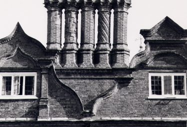 Rothamsted Manor, chimneys dated 1654 and 'Dutch' gables   Royal Commission for Historical Monuments c. 1975, LHS collection