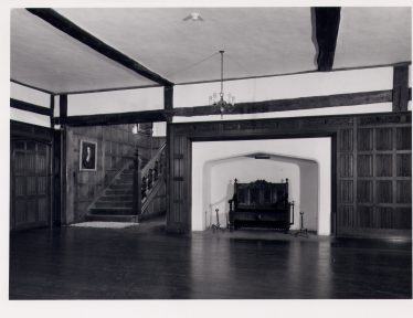 Rothamsted Manor, Hall as it probably was after alterations in 1640s & 1650s, showing staircase built by Sir John Wittewronge   Royal Commission for Historical Monuments c. 1975, LHS collection