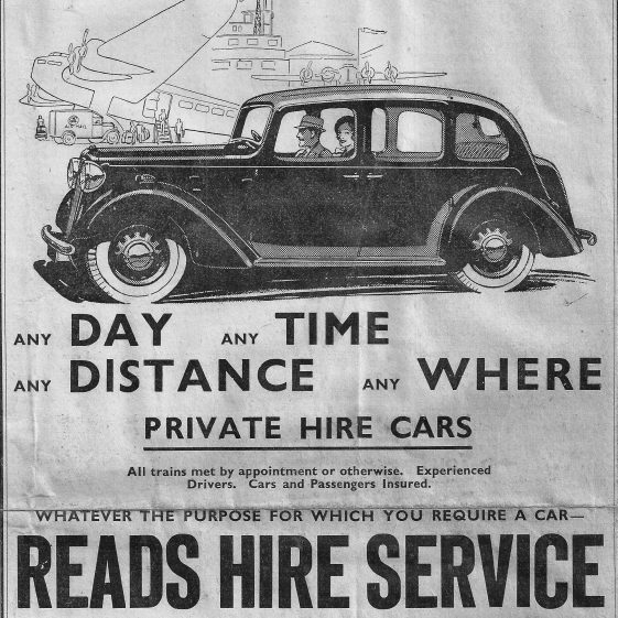 Reads Hire Service - advert in Harpenden Free Press, October 1939 | LHS archives - LAF-NC 8
