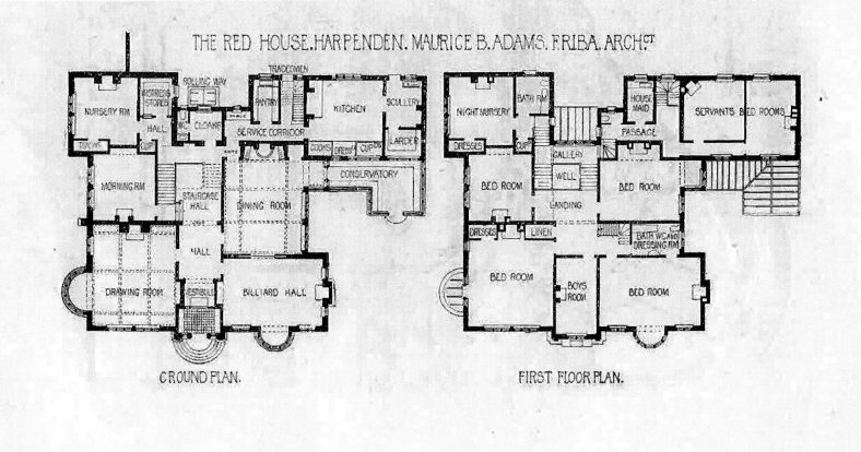 Floor plans for the Red House | Architectural Review, 1898, p.102