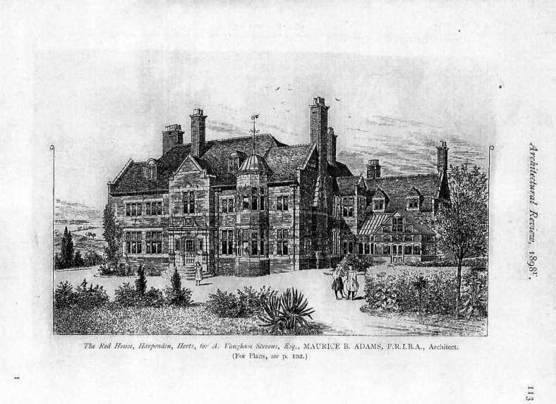 Drawing of the house designed by Maurice B Adams, FRIBA for A Vaughan Stevens Esq | Artchitectural Review, 1898, p.113