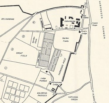 Part of a plan of Rothamsted Experimental Station, showing Barnfield behind Rivers Lodge