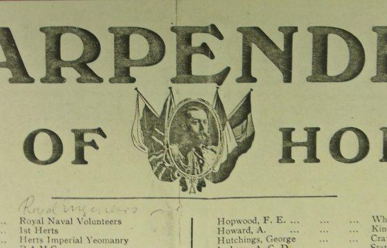 Harpenden's Roll of Honour, January 1915