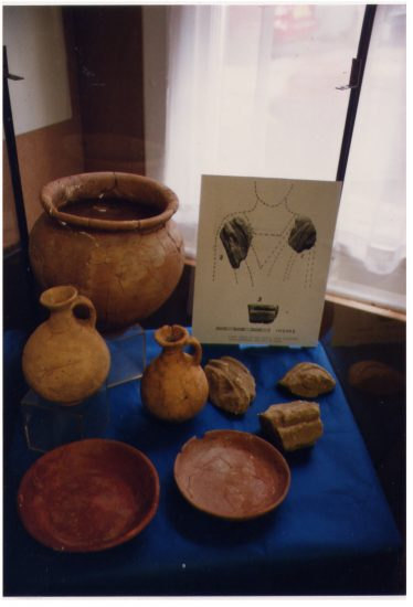 Artefacts and fragments of sculpture found of the site of the Roman Mausoleum, Rothamsted,   LHS archives - LHS 5482 Les Casey.  The objects are held by St Albans Museum Service