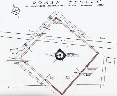 1937 Plan of the Mausoleum - at first thought to be a temple.   St Albans & Hertfordshire Architectural and Archaeological Society, reproduced in WEA Vol 1, The Settlement of Wheathampstead & Harpenden