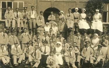 Staff and patients on the garden terrace, 1917 | LHS archive