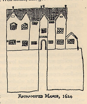 Rothamsted Manor, c 1623, at the time it was sold   reproduced from Boalch: Rothamsted Manor and its Occupants, 1978